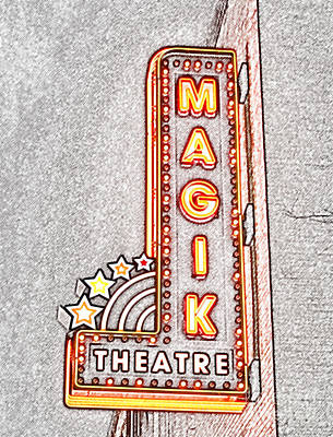 Digital Art - Classic Movie Theater Marquee Americana San Antonio Texas Colored Pencil Digital Art by Shawn O'Brien
