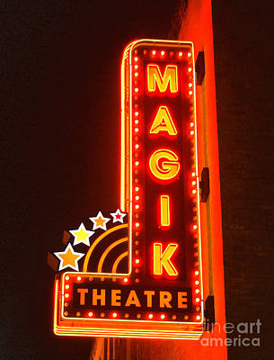 Digital Art - Classic Movie Theater Marquee Americana San Antonio Texas Film Grain Digital Art by Shawn O'Brien