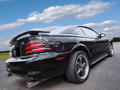 Classic American Muscle Cars Photograph - Classic Nineties Black Mustang by Gill Billington
