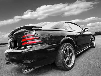 American Muscle Photograph - Classic Nineties Mustang In Black And White by Gill Billington