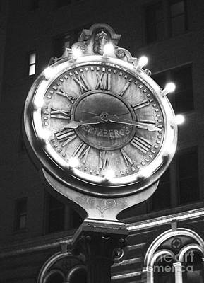 Digital Art - Classic Nostalgic Americana Clock Downtown San Antonio Black And White Film Grain Digital Art by Shawn O'Brien