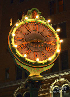 Digital Art - Classic Nostalgic Americana Clock Downtown San Antonio Film Grain Digital Art by Shawn O'Brien