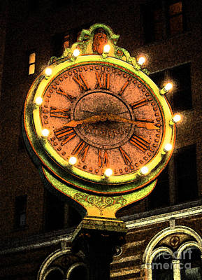 Digital Art - Classic Nostalgic Americana Clock Downtown San Antonio Fresco Digital Art by Shawn O'Brien