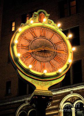 Digital Art - Classic Nostalgic Americana Clock Downtown San Antonio Ink Outlines Digital Art by Shawn O'Brien