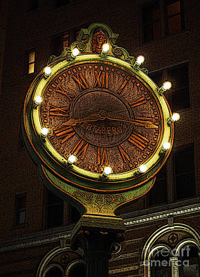 Digital Art - Classic Nostalgic Americana Clock Downtown San Antonio Poster Edges Digital Art by Shawn O'Brien