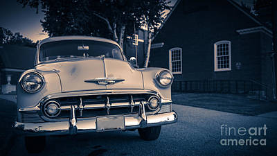50s Photograph - Classic Old Chevy Car At Night by Edward Fielding