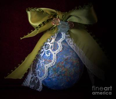 Friend Holiday Card Mixed Media - Classic Ornament In Blue by Jackie Bodnar