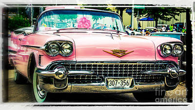 Classic Pink Cadillac Art Print by Perry Webster