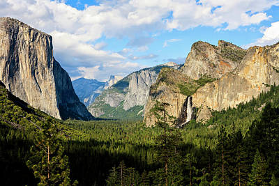 Half Dome Photograph - Classic Tunnel-view, Bridalveil Falls by Tom Norring