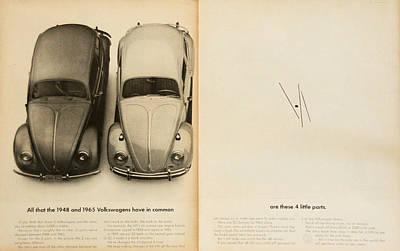 Classic Volkswagen Beetle Vintage Advert Art Print by Georgia Fowler