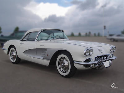 Photograph - Classic White Corvette by Chris Thomas