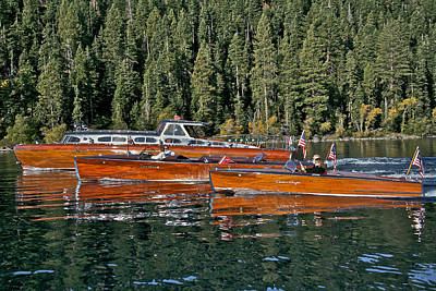 Classic Wooden Boats At Lake Tahoe Print by Steven Lapkin