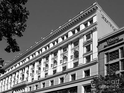 Photograph - Classical Architecture - Bloomingdales San Francisco Bw by Connie Fox