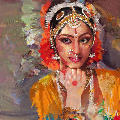 Subcontinent Painting - Classical Dance Art 1 by Maryam Mughal