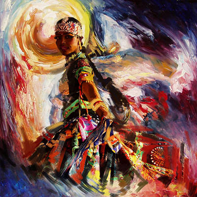 Subcontinent Painting - Classical Dance Art 13 by Maryam Mughal