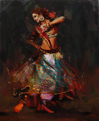 Subcontinent Painting - Classical Dance Art 15b by Maryam Mughal
