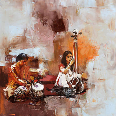 Subcontinent Painting - Classical Dance Art 17 by Maryam Mughal