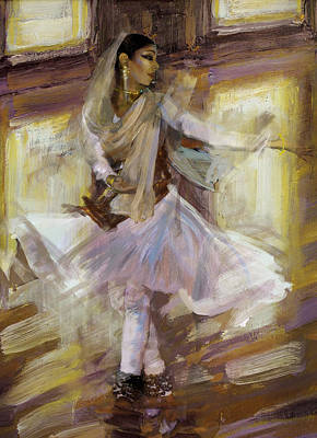 Painting - Classical Dance Art 4b by Maryam Mughal