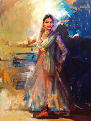Subcontinent Painting - Classical Dance Art 5 by Maryam Mughal