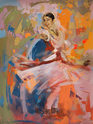 Subcontinent Painting - Classical Dance Art 6 by Maryam Mughal