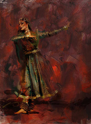 Subcontinent Painting - Classical Dance Art 7 by Maryam Mughal
