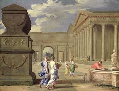 Corinthian Photograph - Classical Landscape Oil On Canvas by Jean Lemaire