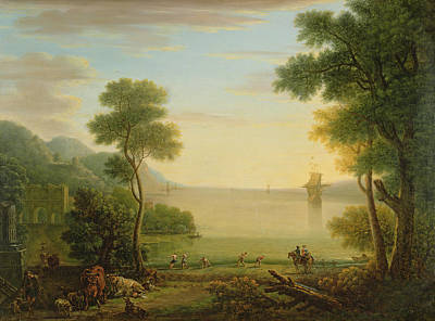 Classical Landscape With Figures And Animals, Sunset, 1754 Oil On Canvas Art Print