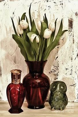 Classy Tulips Bouquet Print by Marsha Heiken