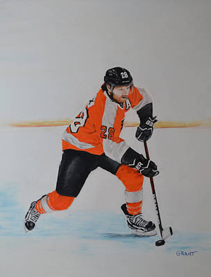 Painting - Claude Giroux Philadelphia Flyer by Joanne Grant