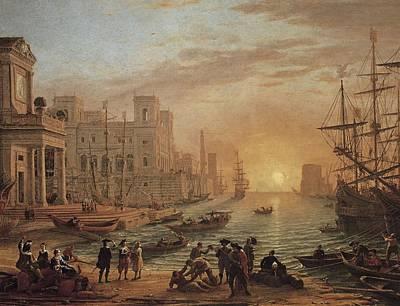 Soleil Couchant Photograph - Claude Lorrain 1600-1682. Seaport by Everett