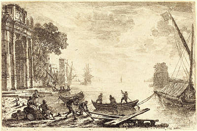 Harbor Drawing - Claude Lorrain, French 1604-1605-1682, Harbor Scene by Litz Collection