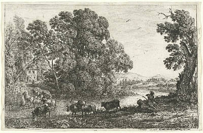 1636 Drawing - Claude Lorrain, French 1604-1605-1682, The Cowherd Le by Litz Collection