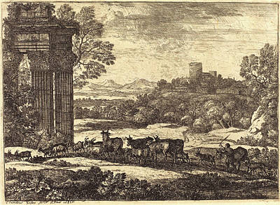 Troupeau Drawing - Claude Lorrain, French 1604-1605-1682, The Herd Returning by Litz Collection