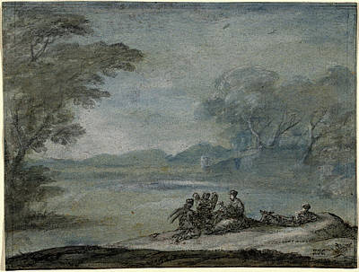 Wash Drawing - Claude Lorrain, The Rest On The Flight Into Egypt by Quint Lox