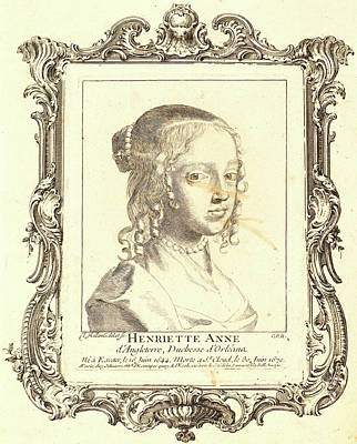 Claude Mellan, French 1598-1688, Henriette Anne Of England Art Print by Litz Collection