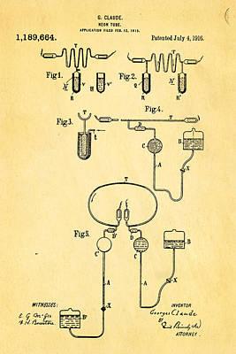 1916 Photograph - Claude Neon Patent Art 1916 by Ian Monk