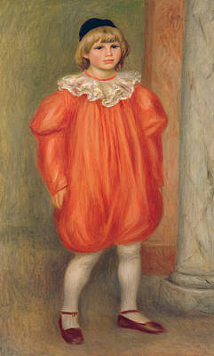 Claude Renoir In A Clown Costume Art Print by Pierre Auguste Renoir