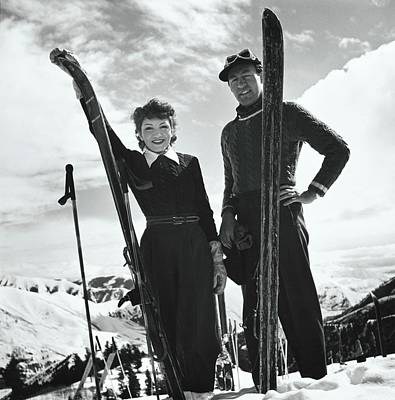 Winter Sky Photograph - Claudette Colbert And Ronald Balcolm Posing by Toni Frissell