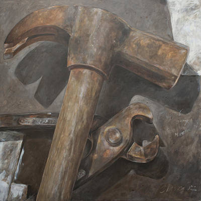 Claw Hammer And Pliers Art Print by Anke Classen