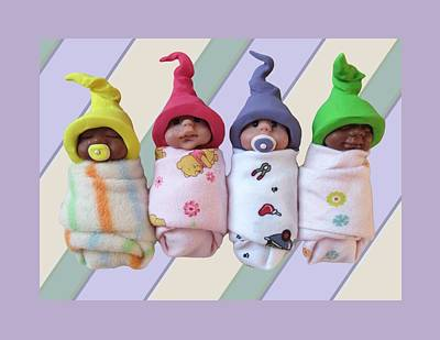 Polymer Clay Photograph - Clay Babies With Elfin Hats by Joyce Geleynse