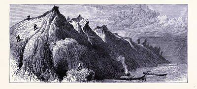 Lake Michigan Drawing - Clay Cliffs On The Shore Of Lake Michigan United States by American School