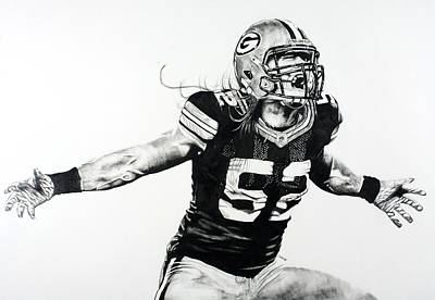 Clay Drawing - Clay Matthews by Jake Stapleton