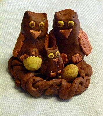 Modeling Clay Photograph - Clay Owl Family by Richard Bryce and Family