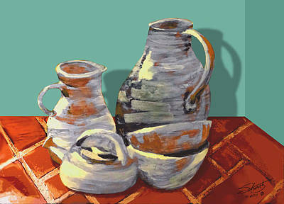 Painting - Clay Pottery by IM Spadecaller