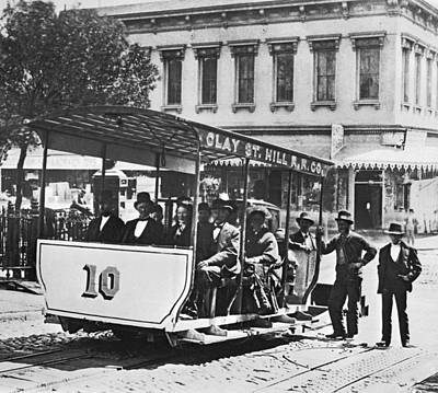1873 Photograph - Clay Street Cable Car by Underwood Archives