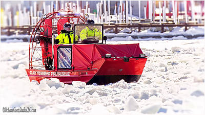Ice Photograph - Clay Township Fire Rescue Boat  by LeeAnn McLaneGoetz McLaneGoetzStudioLLCcom