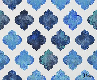 Clean Blue Quatrefoil I Art Print