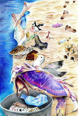 Cleaner Coastline By Benjamin Tang 6th Grade Art Print by California Coastal Commission