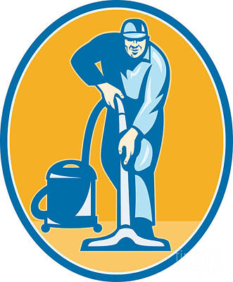 Cleaner Janitor Worker Vacuum Cleaning Art Print by Aloysius Patrimonio