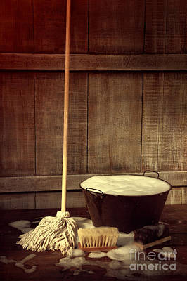 Photograph - Cleaning Mop And Bucket With Wet Soapy Floor by Sandra Cunningham